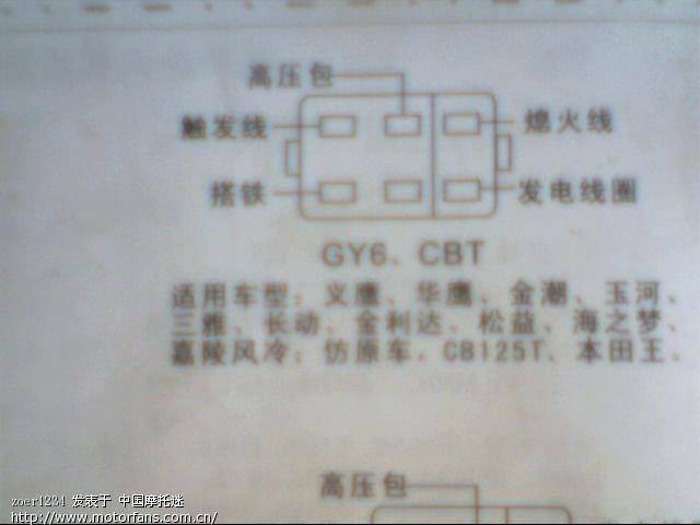 踏板车点火器接线图图片