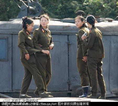 中朝边境的朝鲜人民军女巡逻兵