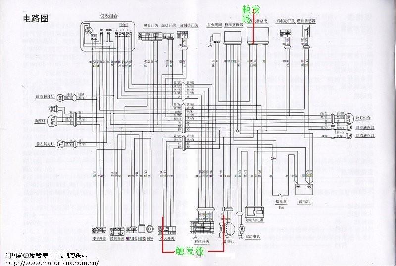 触发线我在电路图中电门开关,磁电机输出线束,直流点火器三处地方标出