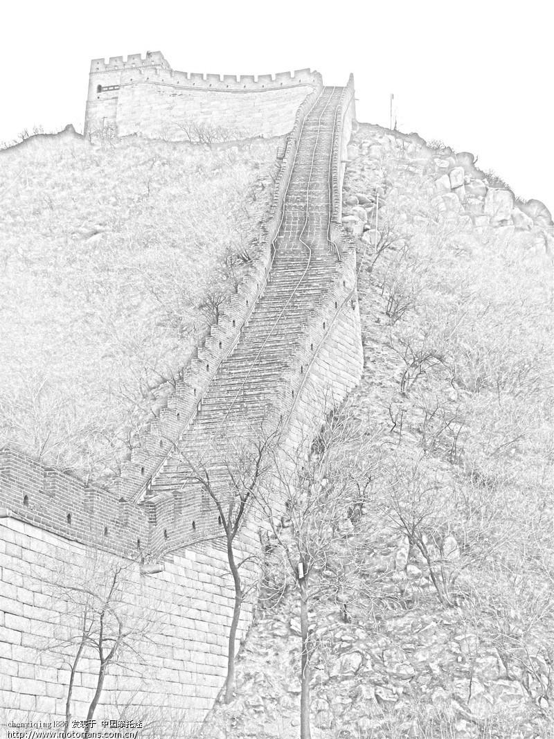长城铅笔画步骤图片