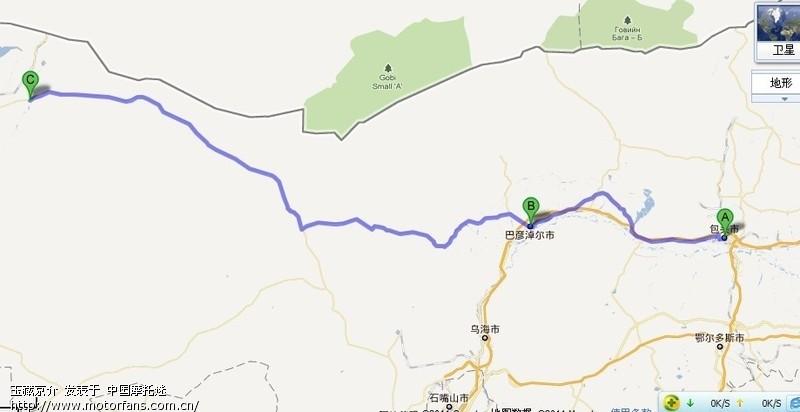 包头到额济纳线路图(谷歌地图)