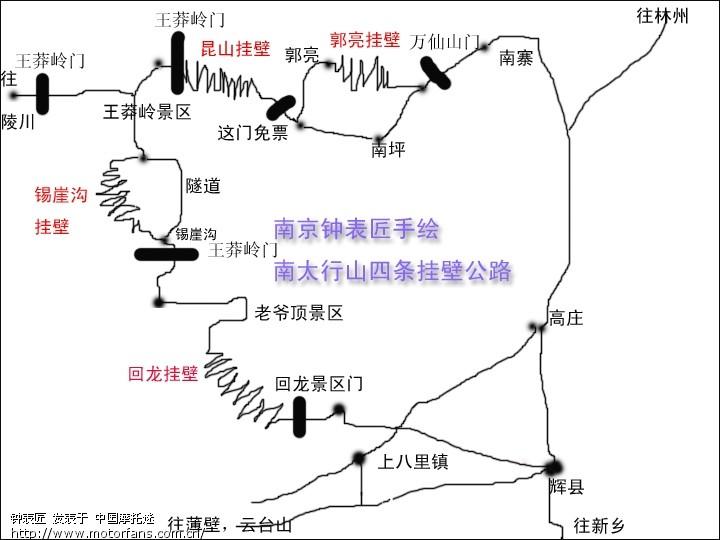 南太行山四条挂壁公路 手绘线路图 - 上海摩友交流区