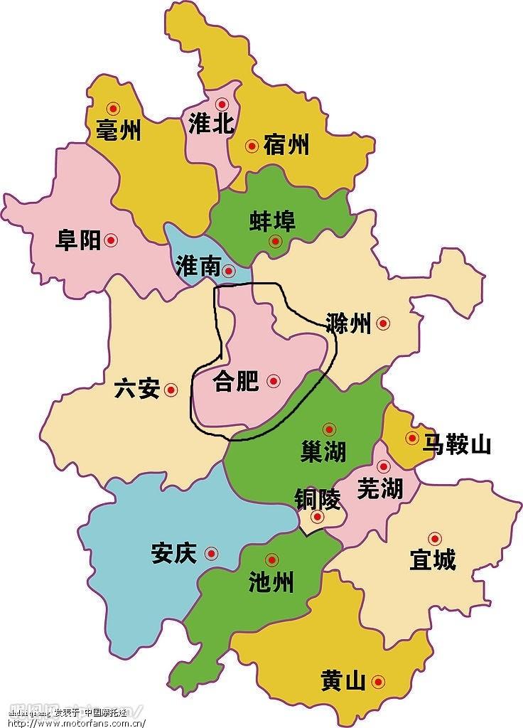 2  安徽省地图 安徽地区,我们要叙述的就是黑线区域,合肥
