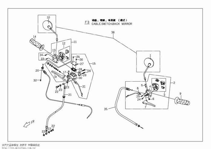 踏板车结构图解