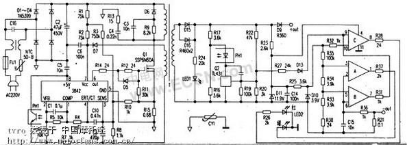 该充电器的测绘电路图如附图所示