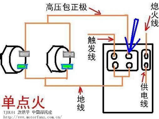 主发的电路图上鹰王的点火器插口只有一个高压包借口