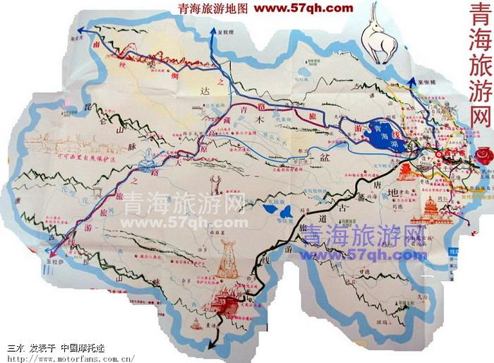 青藏公路沿途海拔高度 里程 间距,43楼增加青海旅游地图图片