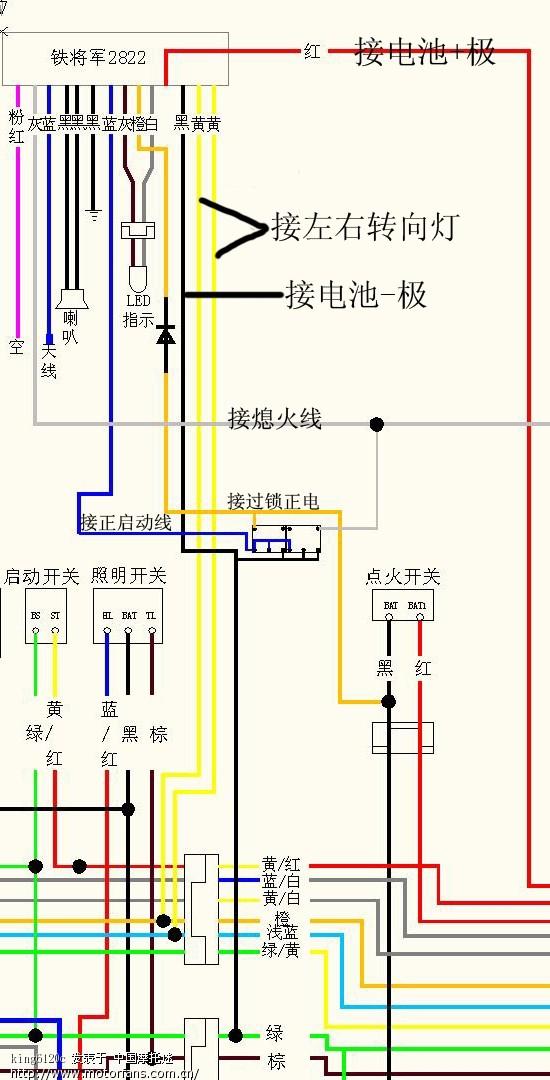 铁将军2822+暗开关接线图1