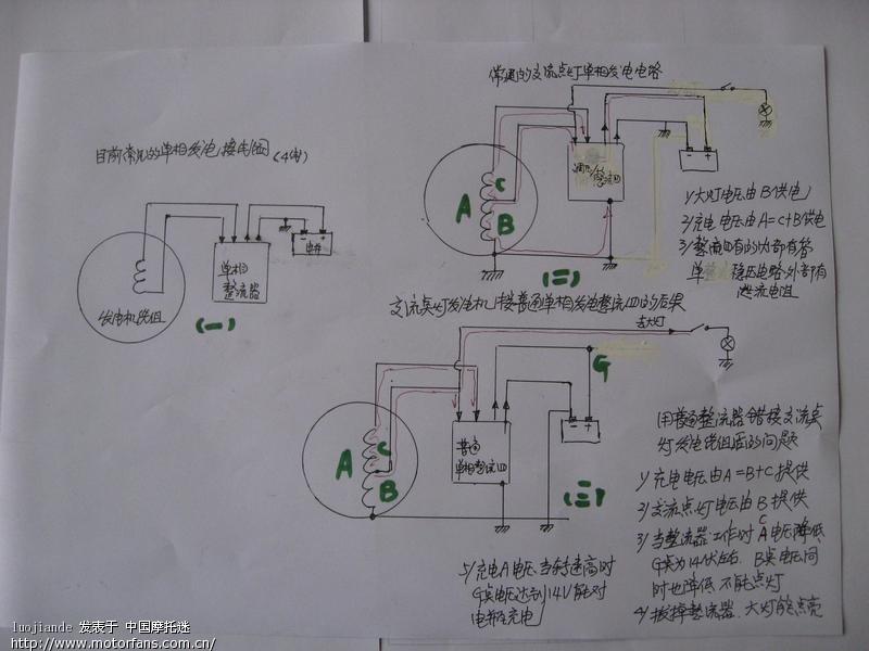 楼主:  你的交流点灯发电机线圈错换成目前常用单相四线直流点灯的
